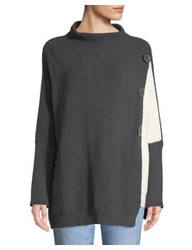 Solstice Two Tone Lightweight Cotton Pullover Sweater by Neiman Marcus