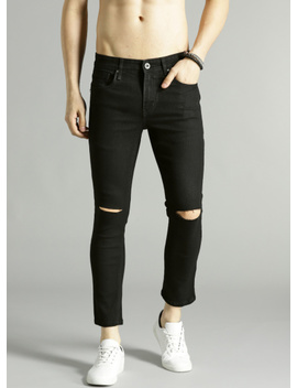 Black Skinny Fit Mid Rise Slash Knee Stretchable Cropped Jeans by Roadster