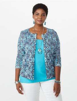Plus Size Printed Cardigan by Dressbarn