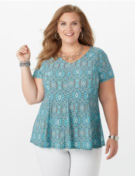Plus Size Geometric Print Fit And Flare Top by Dressbarn