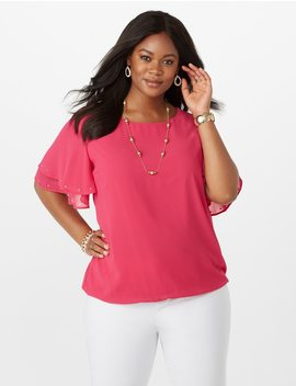 Plus Size Studded Flutter Sleeve Blouse by Dressbarn