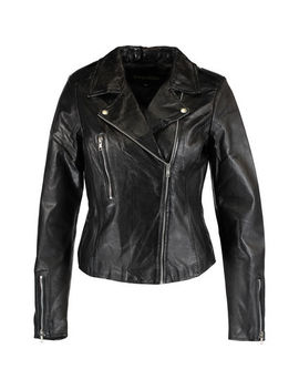 Black Quilted Leather Biker Jacket by Transmission