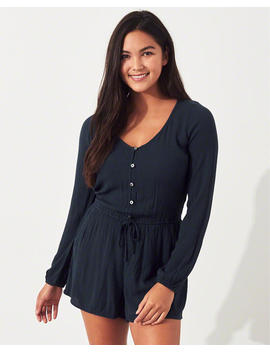 Button Front Woven Romper by Hollister