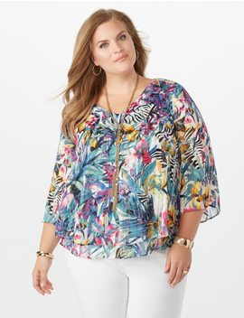 Plus Size Layered Hem Floral Split Back Blouse by Dressbarn
