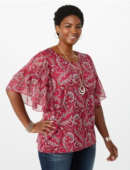 Plus Size Ruffled Shimmer Sleeve Paisley Top by Dressbarn