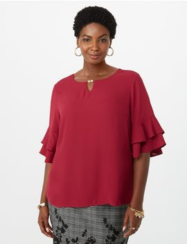 Plus Size Double Ruffle Pearl Blouse by Dressbarn