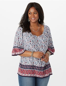 Plus Size Floral And Paisley Print Border Top by Dressbarn