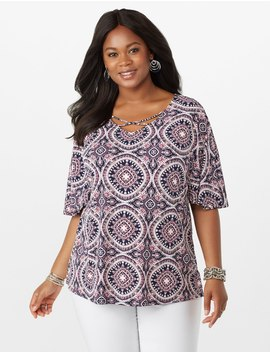 Plus Size Printed Crisscoss Puff Paint Top by Dressbarn