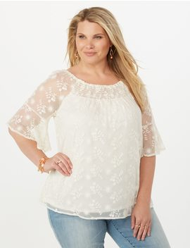 Plus Size Smocked Embellished Mesh Blouse by Dressbarn