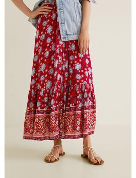 Spódnica Z Kwiatowym Wzorem by Mango