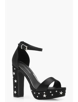 Wide Fit Star & Stud Platform Heels by Boohoo