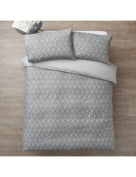 Wilko Geometric Print Grey Double Duvet Set by Wilko
