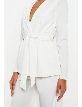 White Tie Waist Blazer by Missguided