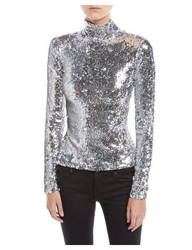 Sequined Long Sleeve Turtleneck Top by Milly