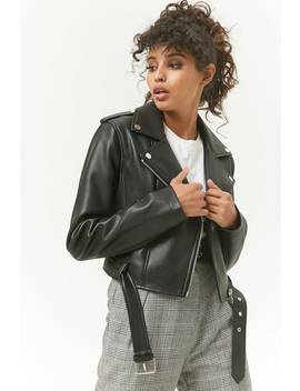 Cropped Faux Leather Moto Jacket by Forever 21