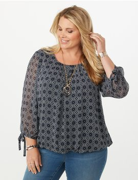 Plus Size Medallion Print Tie Sleeve Bubble Hem Blouse by Dressbarn