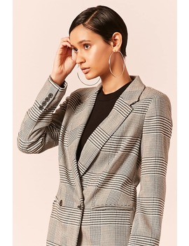Glen Plaid Double Breasted Blazer by Forever 21