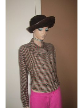 Vintage Krizia Poi Jacket.Made In Italy.100 Percents Wool Houndstooth Fabric. by Shungalulu