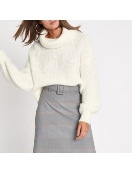 Cream Roll Neck Knit Jumper by River Island