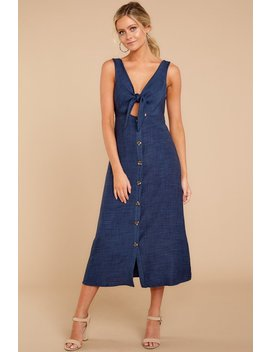 We Should Be Together Navy Midi Dress by Blu Blush