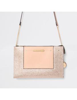 Gold Embossed Glitter Cross Body Bag by River Island