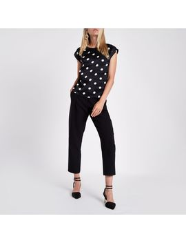 Black Satin Spot Pleated Back Top by River Island