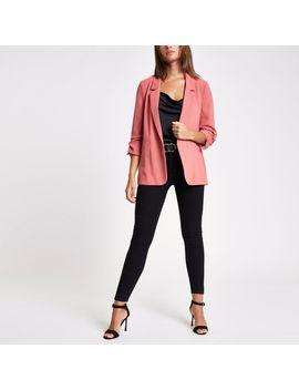 Dark Pink Ruched Sleeve Blazer by River Island