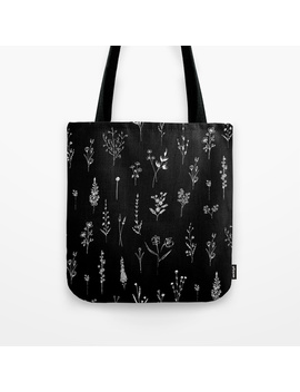 Black Wildflowers Tote Bag by