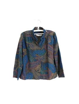 Verde Blu Boho Paisley Camicetta / Blusa Pura Lana / Blusa Collo Alto Vintage / Button Up Camicia / Francese Chic Camicia / Camicetta M Medium by Vintage Solitaire