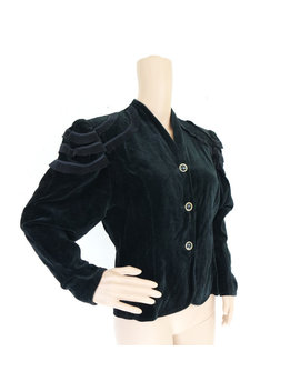 Vintage Anni ' 90 Velour Nero Giacca / / Giacca In Morbido Velour / / Hussar Spalle Giacca / / Stylish Made In Finlandia Giacca / / Giacca Taglia Medium M L by Vintage Solitaire