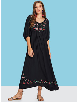 Tassel Tie Flower Embroidered Dress by Shein