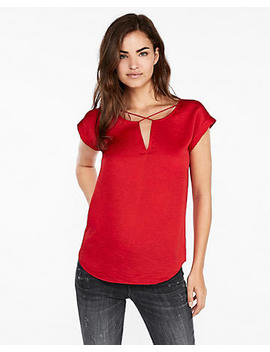 Satin Cross Front Gramercy Tee by Express