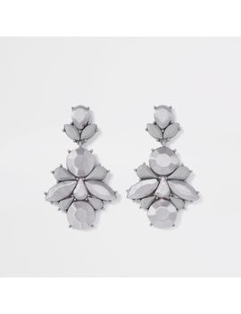 Grey Satin Jewel Drop Earrings by River Island