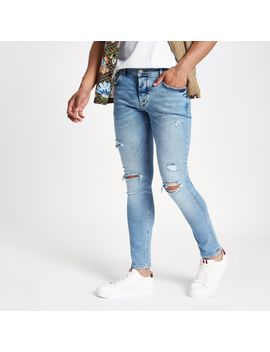 Blue Skinny Ripped Jean by River Island
