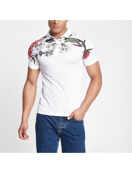White Muscle Fit Floral Mesh Polo Shirt by River Island