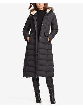 Faux Fur Hooded Mix Quilted Maxi Coat by Lauren Ralph Lauren