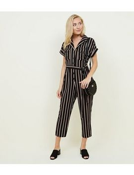 Petite Black Stripe Button Front Jumpsuit by New Look