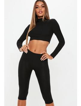 Black Cycling Shorts And High Neck Long Sleeve Crop Top Co Ord by Missguided