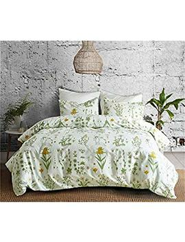 "Couture Bridal Botanical Duvet Cover Set Queen Size 90""X90"" Flowers Printed Boho Modern Bedding Lightweight Microfiber 3 Pieces With Zipper,1 Duvet Cover 2 Pillowcases by Couture Bridal"