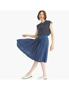 Double Pleated Midi Skirt In Polka Dot by J.Crew