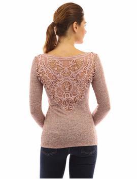 Patty Boutik Women's V Neck Lace Back Marled Knit Sweater by Patty Boutik