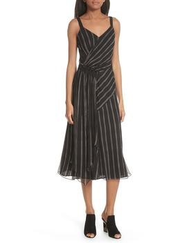 Painterly Stripe Ruffle Silk Dress by Grey Jason Wu
