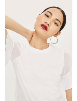 Sheer Sleeve T Shirt by Topshop