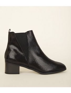 Wide Fit Black Faux Snakeskin Chelsea Boots by New Look