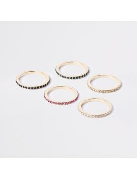 Gold Tone Diamante Embellished Ring Pack by River Island