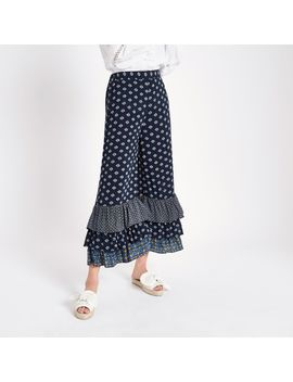 Blue Print Tiered Frill Culottes by River Island