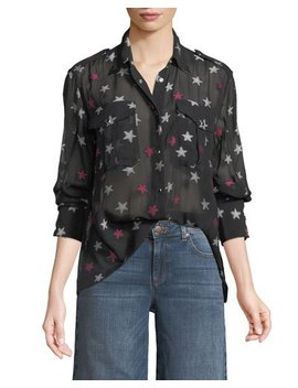 Pearson Button Down Star Print Sheer Silk Shirt by Rag & Bone