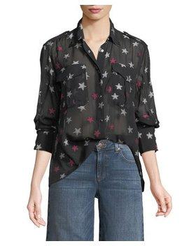 Pearson Button Down Star Print Sheer Silk Shirt by Rag & Bone