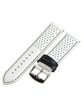 22mm Rally Perforated Smooth White / Black Leather Interchangeable Watch Band Strap by Clockwork Synergy, Llc