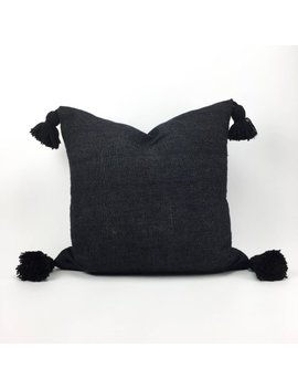 "24"" X 24"" Black Pom Pom Euro Sham Pillow Cover   Handwoven   Handmade   Moroccan   Cotton by Heddle And Lamm"